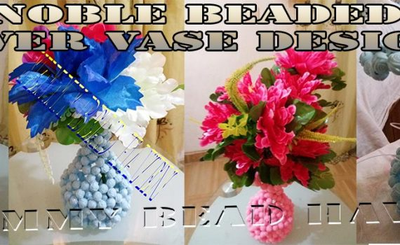 BEADED FLOWER VASE TUTORIAL UJE NOBLE DESIGN