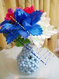 beaded flower vase Uje noble blue