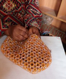 Sewing lining to the beaded purse