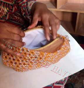 Lining the beaded purse