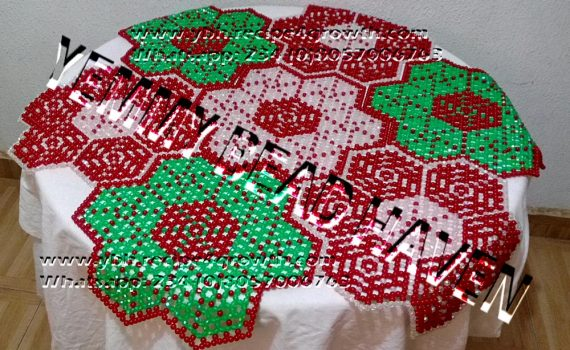 BEADED TABLEMAT DOUBLE STAR DESIGN